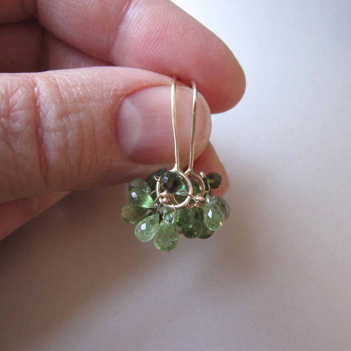 green tourmaline cluster dangles solid 14k gold earrings