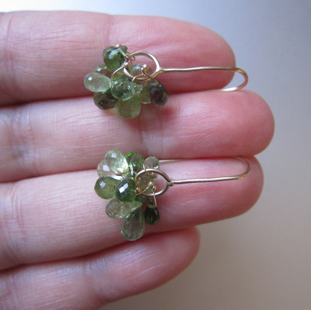 green tourmaline cluster dangles solid 14k gold earrings3