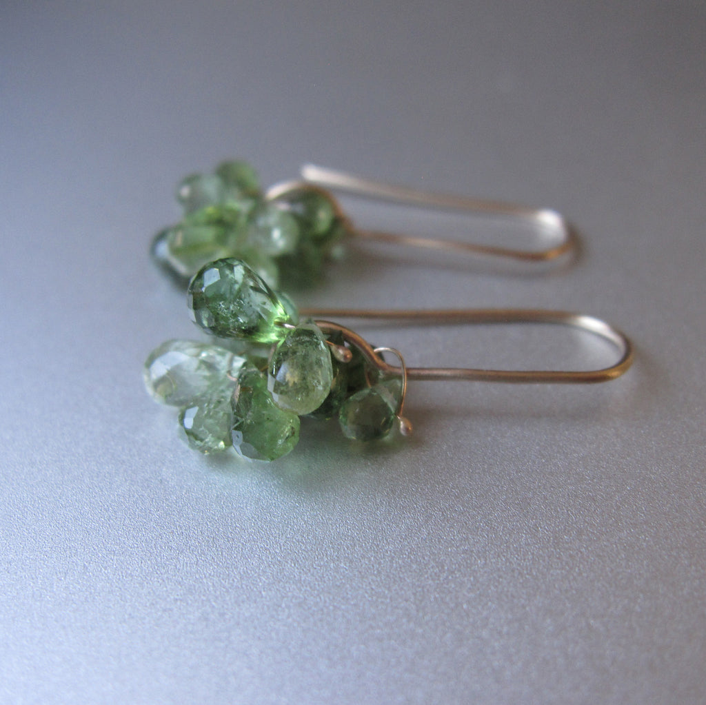 green tourmaline cluster dangles solid 14k gold earrings2