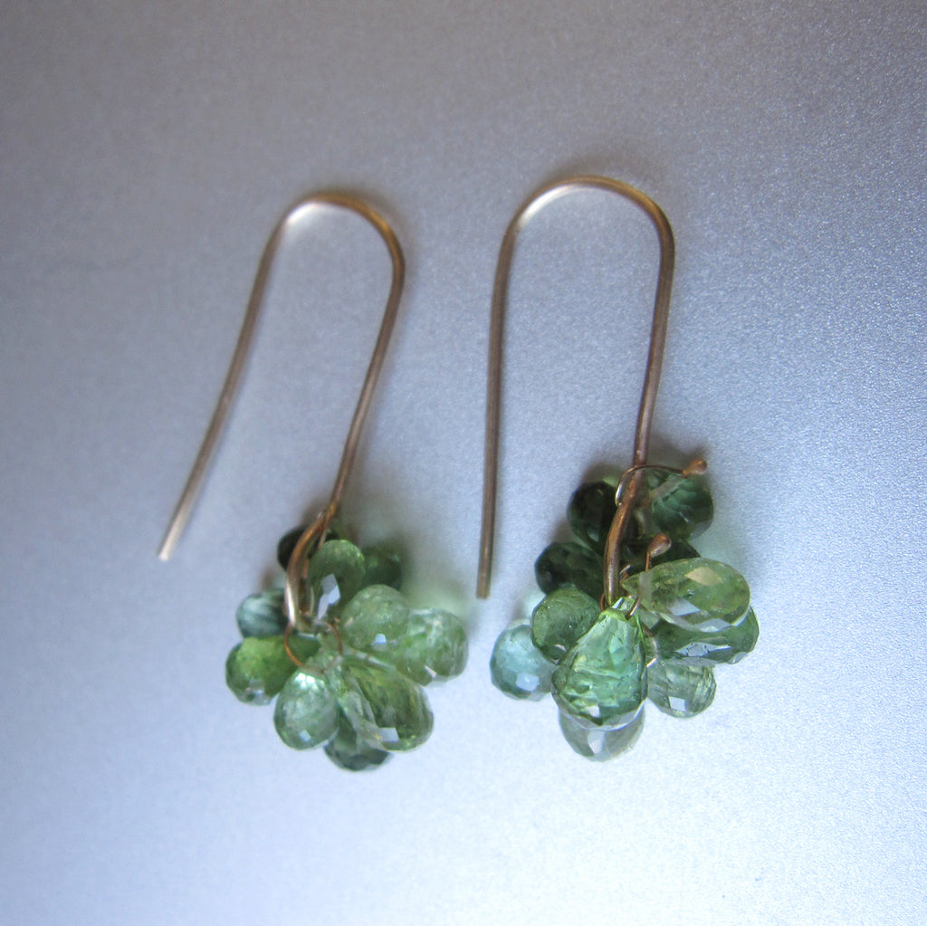 green tourmaline cluster dangles solid 14k gold earrings4
