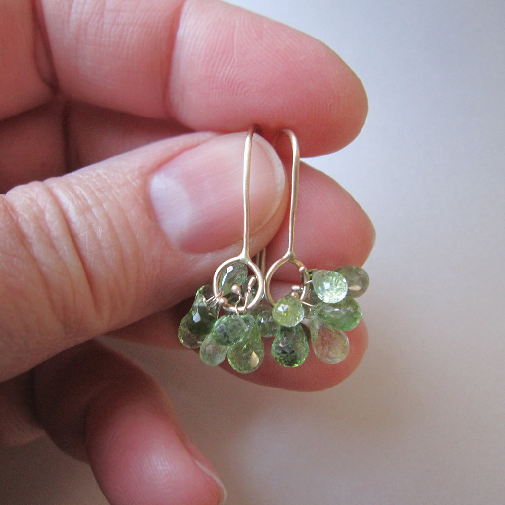 green tourmaline cluster dangles solid 14k gold earrings5