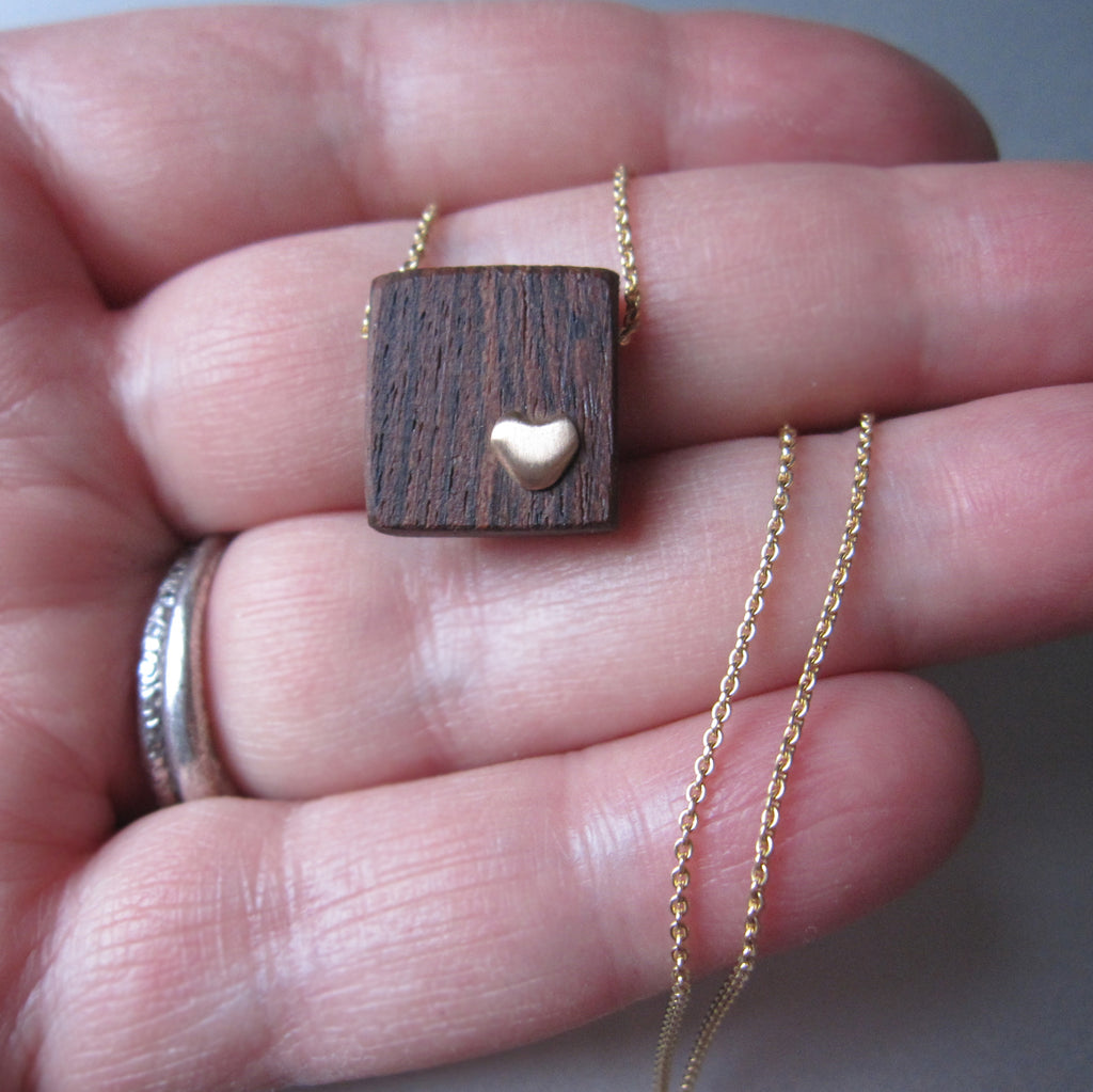 recycled wood and gold heart necklace solid 14k gold necklace valentine