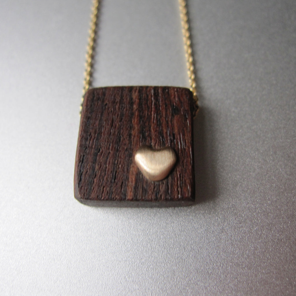 recycled wood and gold heart necklace solid 14k gold necklace valentine2
