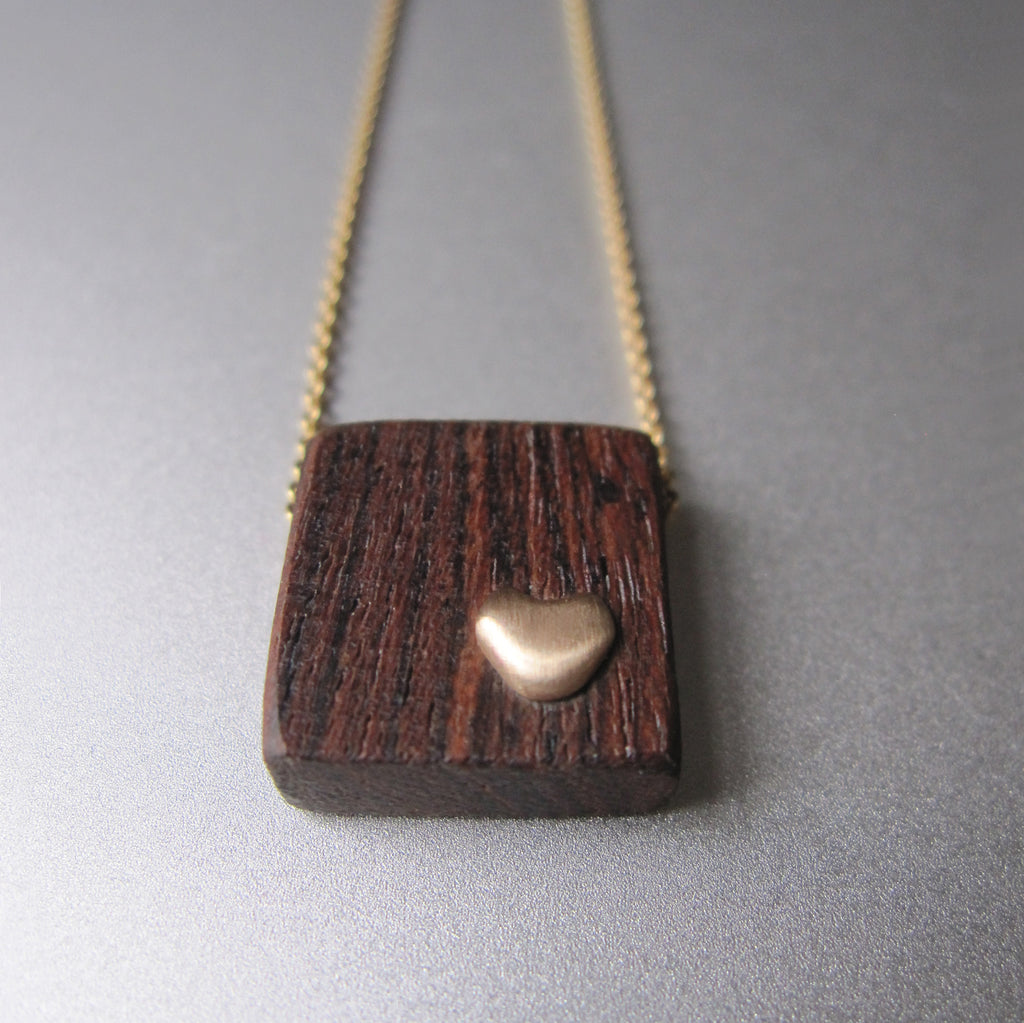 recycled wood and gold heart necklace solid 14k gold necklace valentine3