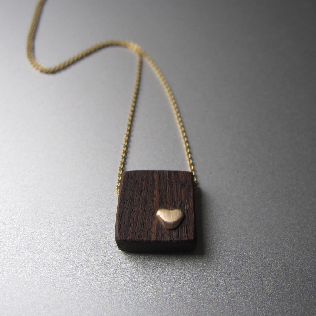 recycled wood and gold heart necklace solid 14k gold necklace valentine4