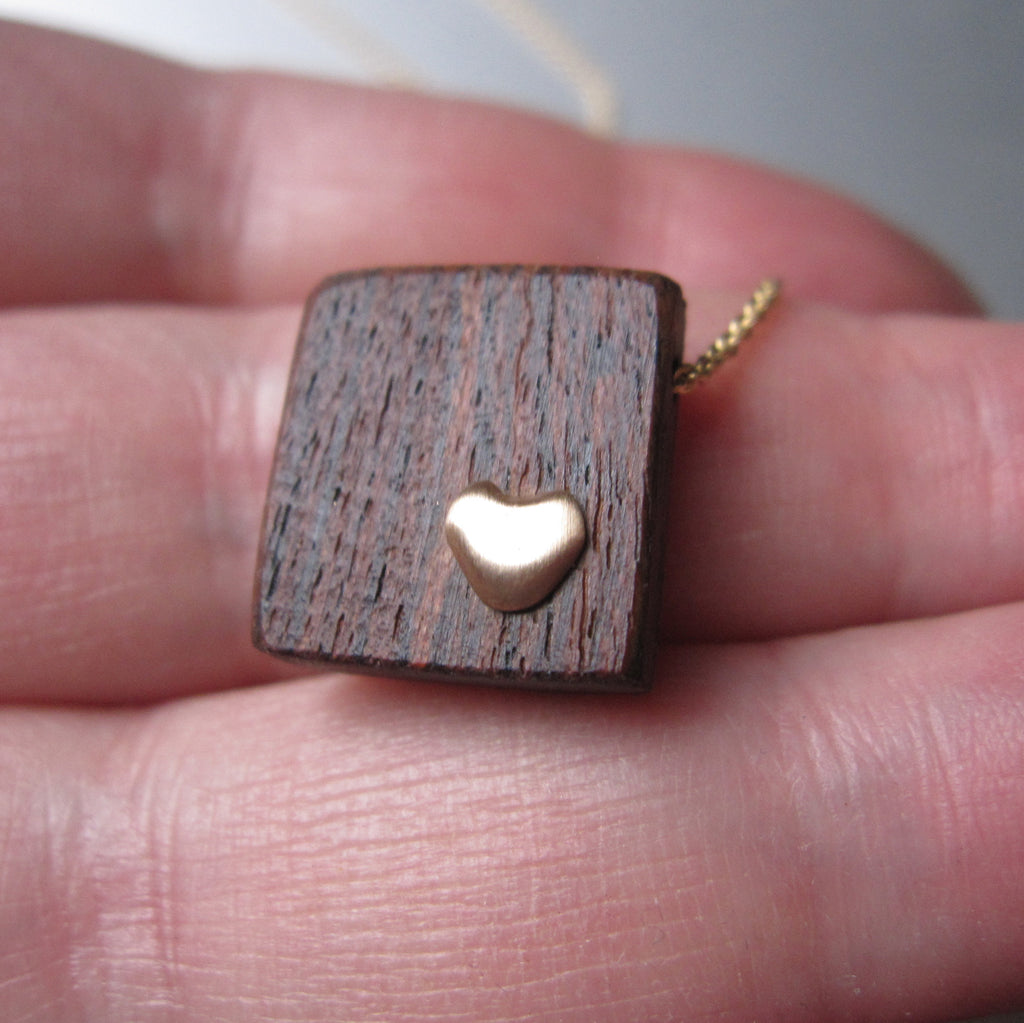 recycled wood and gold heart necklace solid 14k gold necklace valentine5