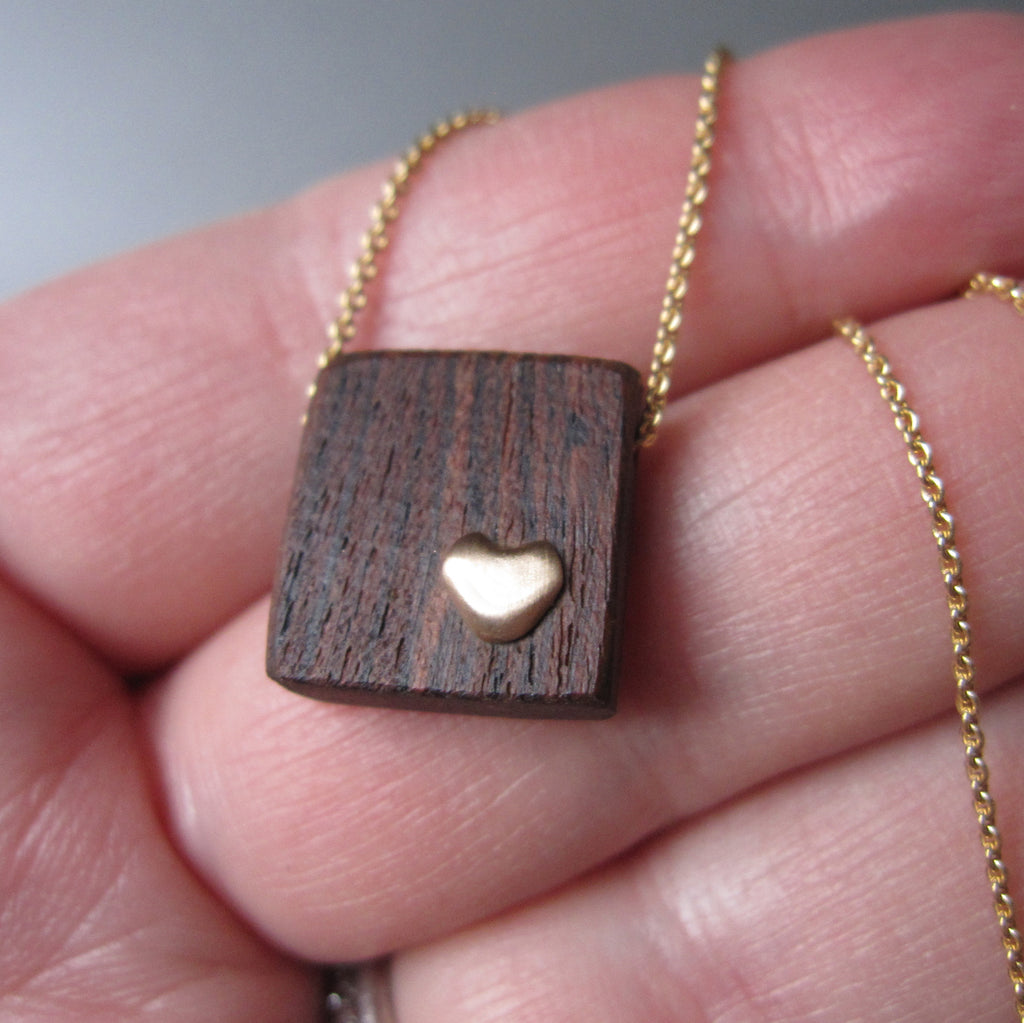 recycled wood and gold heart necklace solid 14k gold necklace valentine6