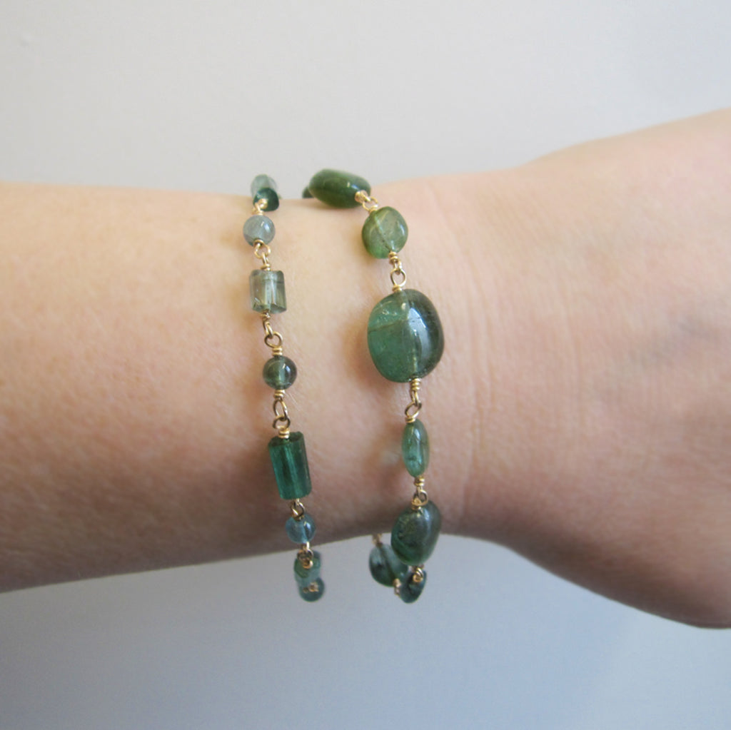 Indicolite Blue Green Tourmaline Oval Beaded Solid 14k Gold Bracelet3