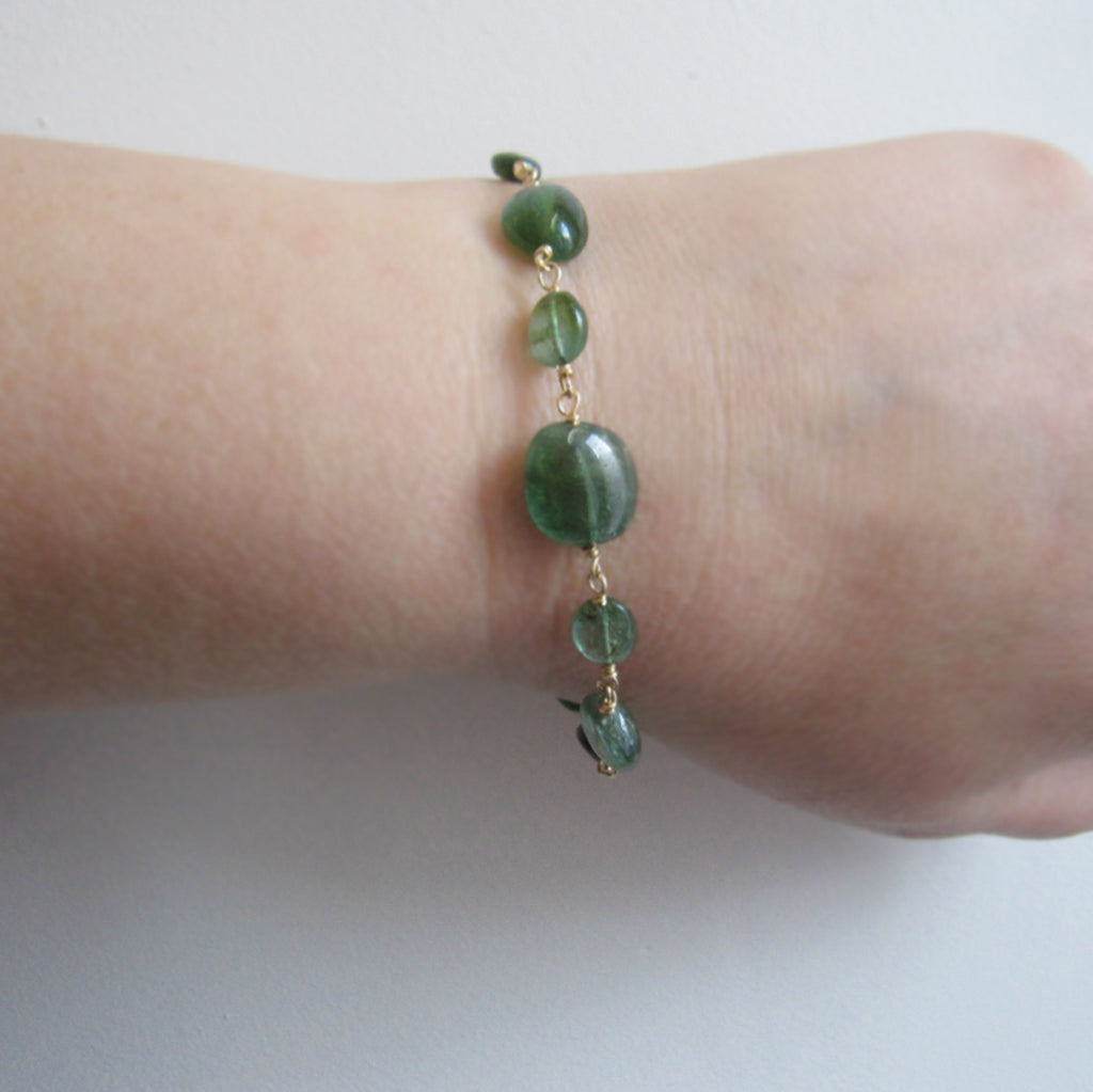 Indicolite Blue Green Tourmaline Oval Beaded Solid 14k Gold Bracelet4