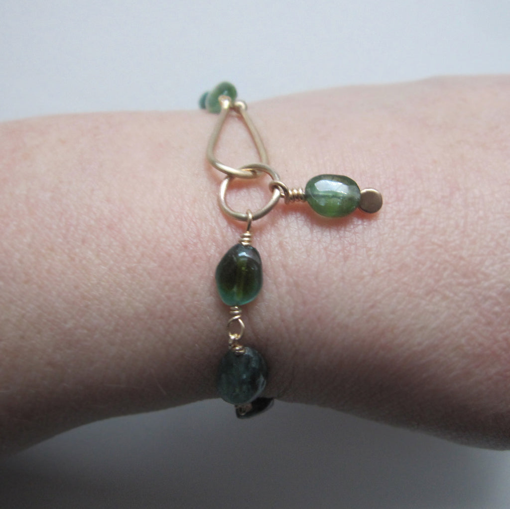 Indicolite Blue Green Tourmaline Oval Beaded Solid 14k Gold Bracelet10