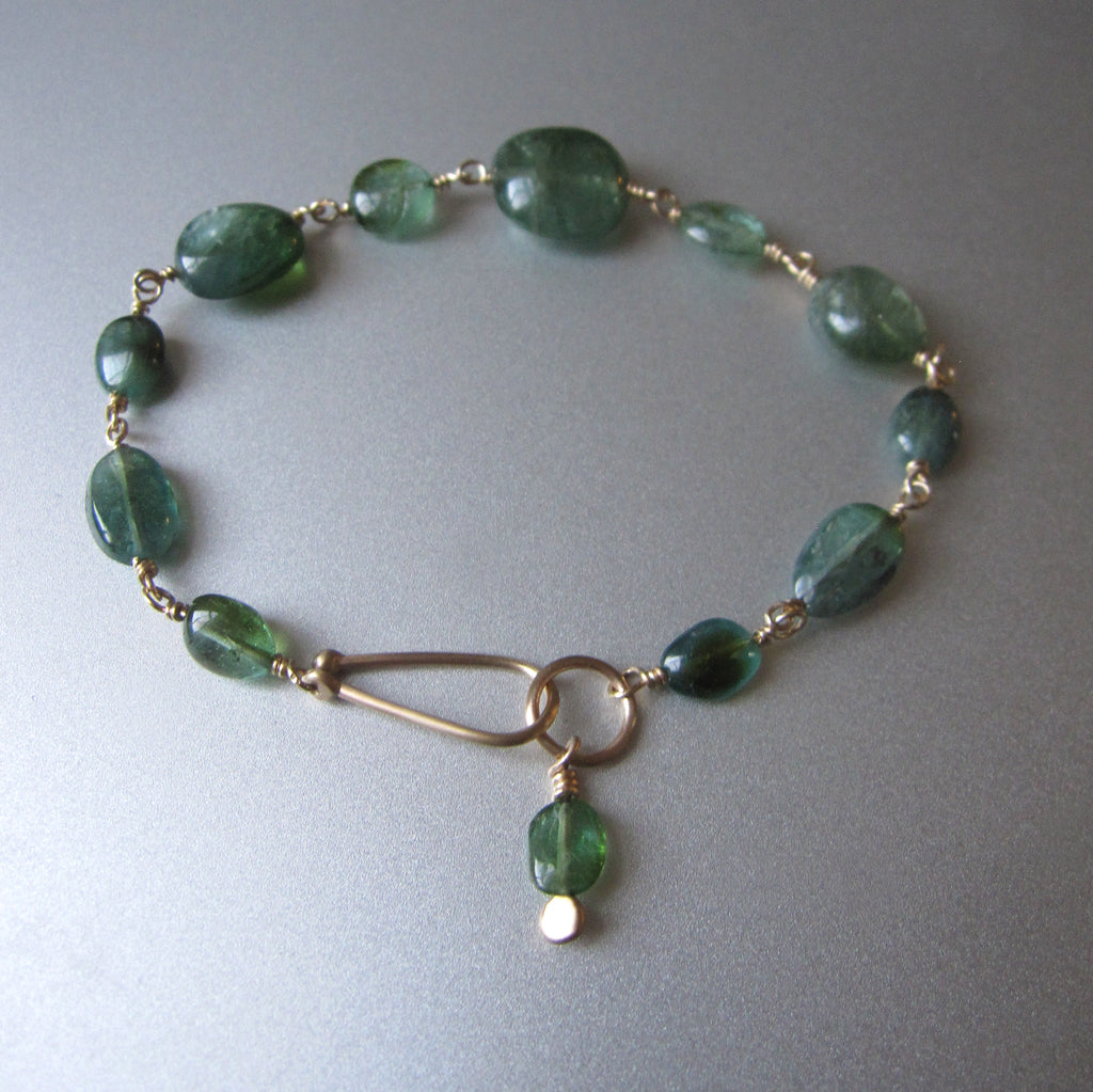 Indicolite Blue Green Tourmaline Oval Beaded Solid 14k Gold Bracelet5
