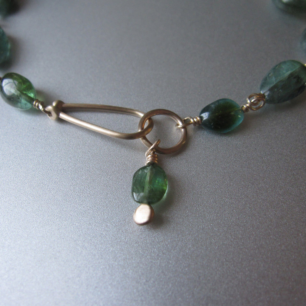Indicolite Blue Green Tourmaline Oval Beaded Solid 14k Gold Bracelet6