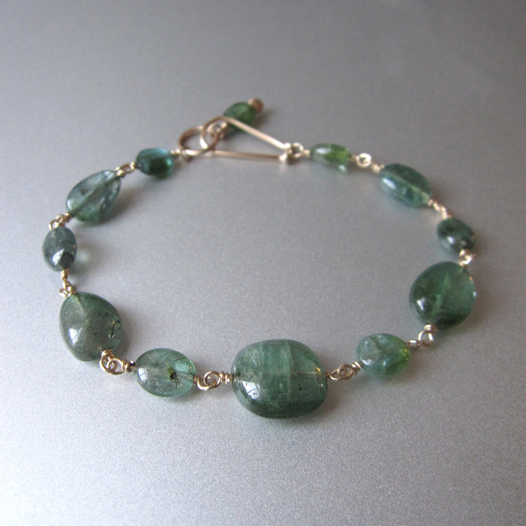 Indicolite Blue Green Tourmaline Oval Beaded Solid 14k Gold Bracelet2