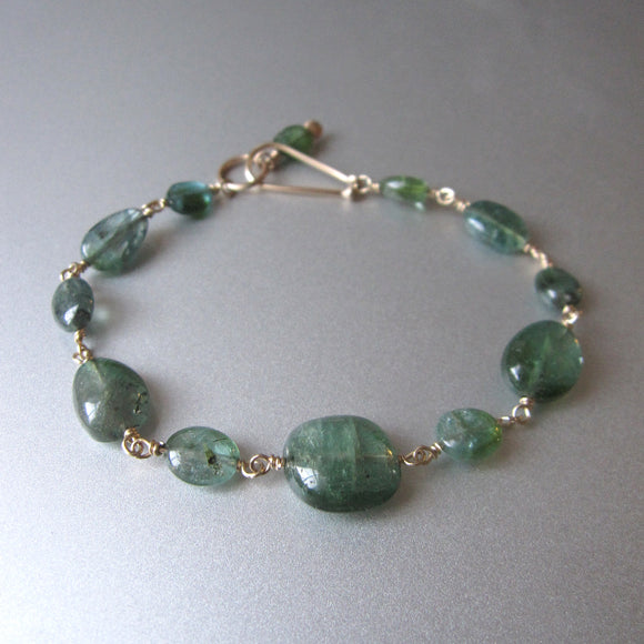 Indicolite Blue Green Tourmaline Oval Beaded Solid 14k Gold Bracelet
