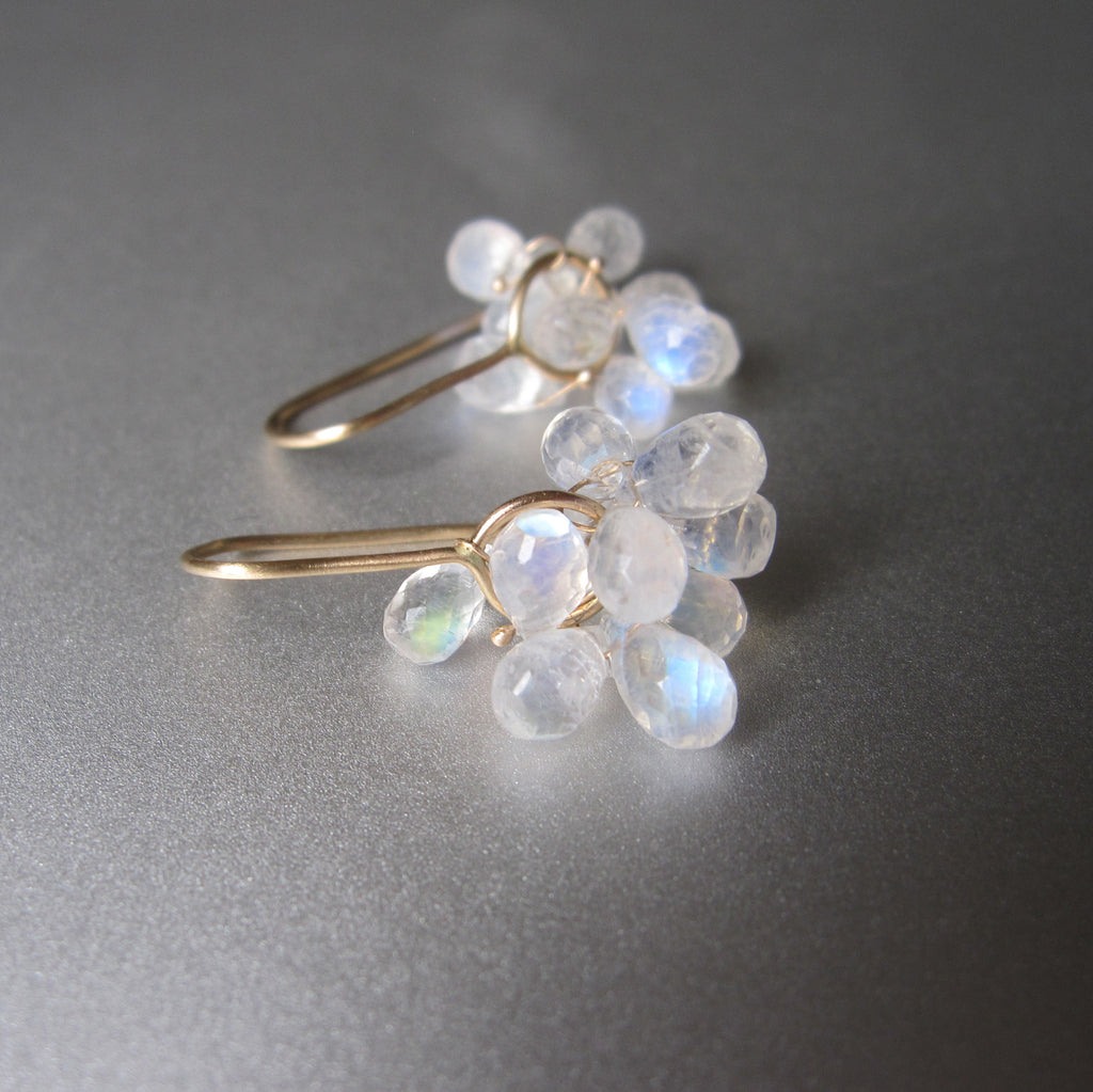 rainbow moonstone briolette clusters solid 14k gold earrings