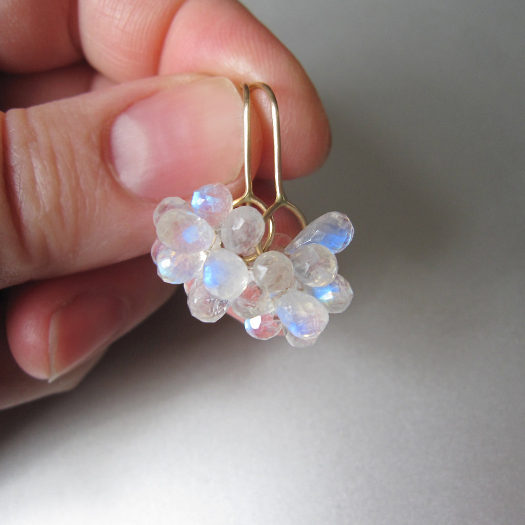 rainbow moonstone briolette clusters solid 14k gold earrings2