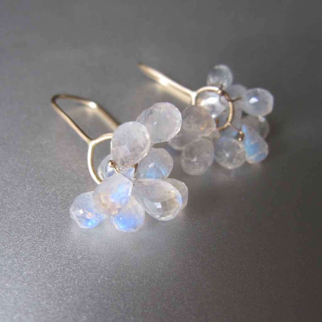 rainbow moonstone briolette clusters solid 14k gold earrings6