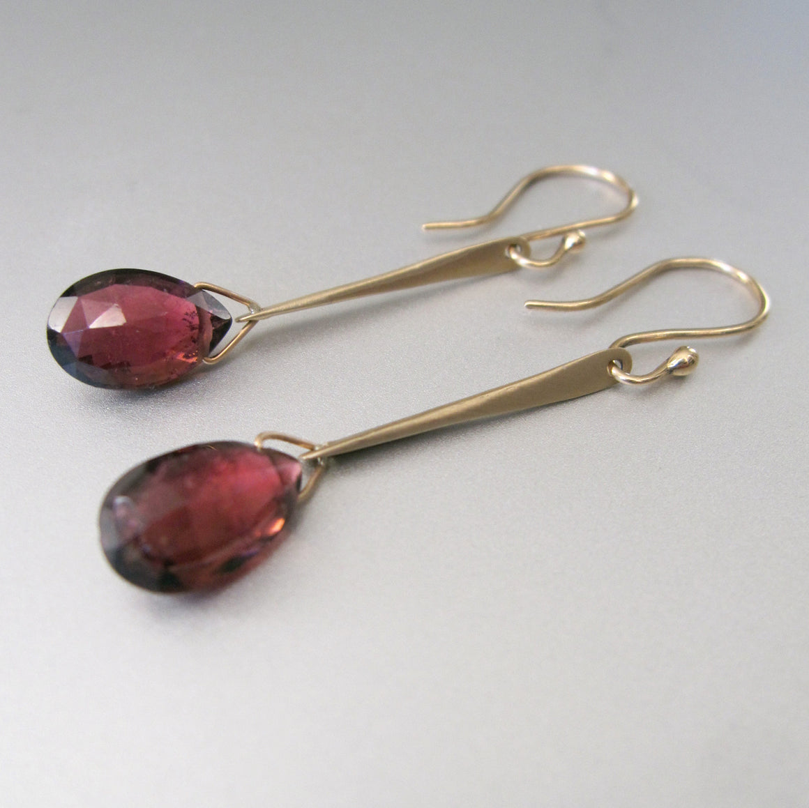 long spikes with rubellite drops solid 14k gold earrings