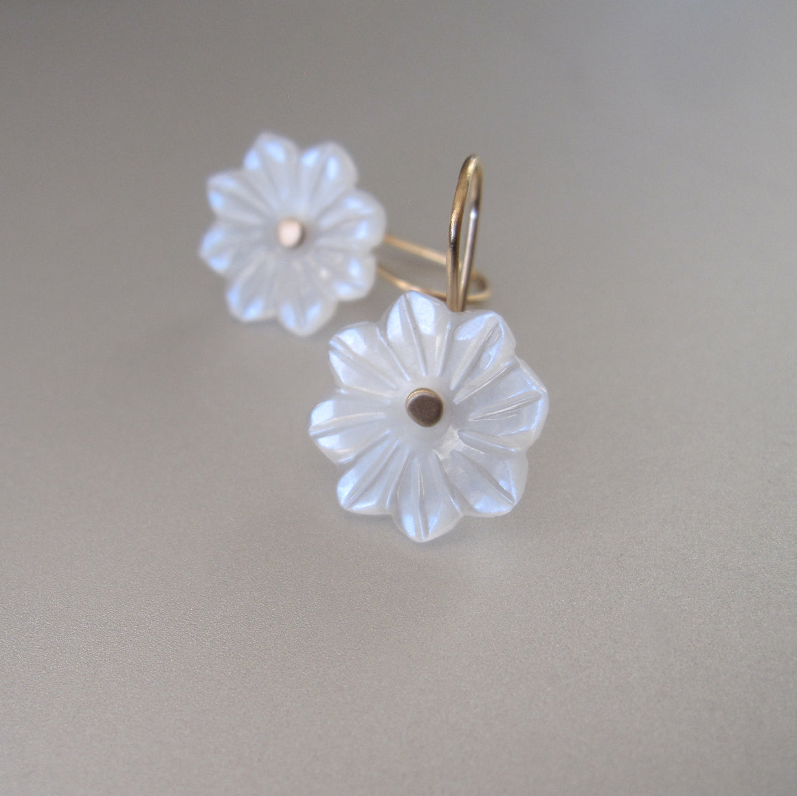 carved white moonstone flower drops solid 14k gold earrings