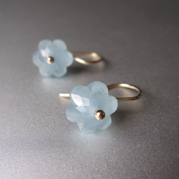 small aquamarine carved flower drops solid 14k gold earrings