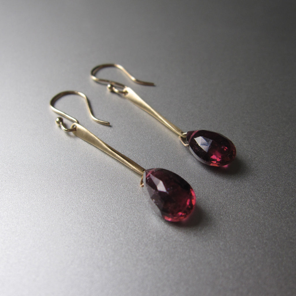 long spikes with rubellite drops solid 14k gold earrings5