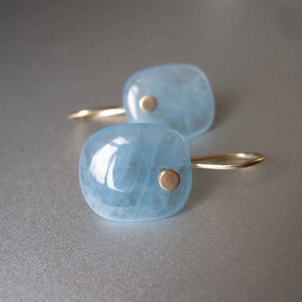 Aquamarine Blue Cushion Slice Drops Solid 14k Gold Earrings 2