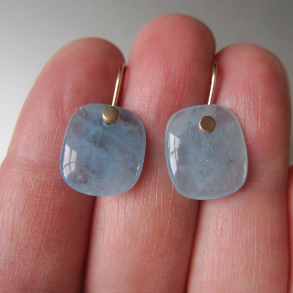 Aquamarine Blue Cushion Slice Drops Solid 14k Gold Earrings 5