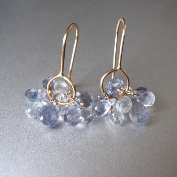 blue iolite and clear topaz clusters solid 14k gold earrings