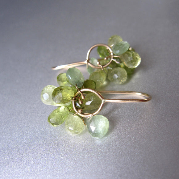 green garnet and kyanite clusters solid 14k gold earrings2