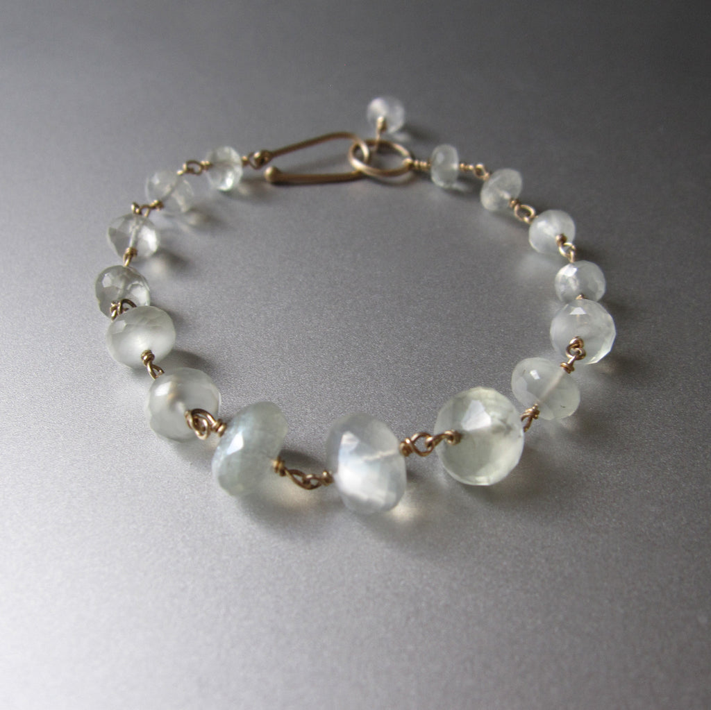 green moonstone wire wrapped solid 14k gold bracelet