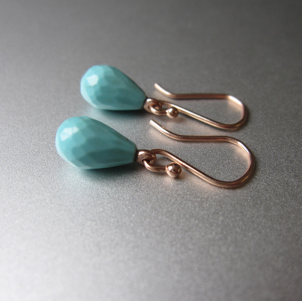 small turquoise drops solid 14k rose gold earrings