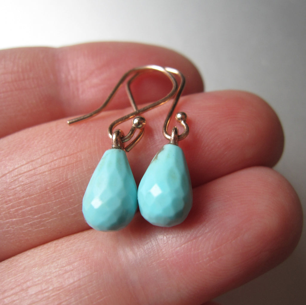 small turquoise drops solid 14k rose gold earrings5