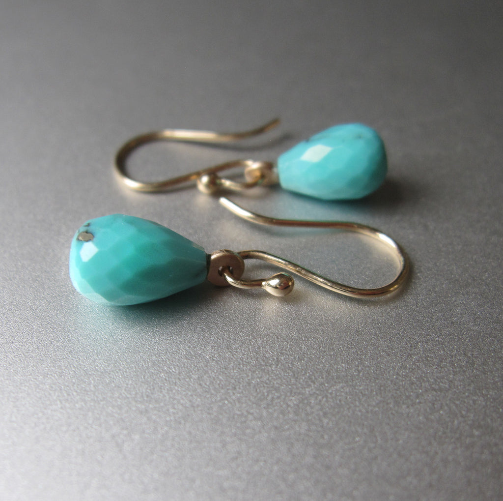 arizona blue turquoise faceted drops solid 14k yellow gold earrings5