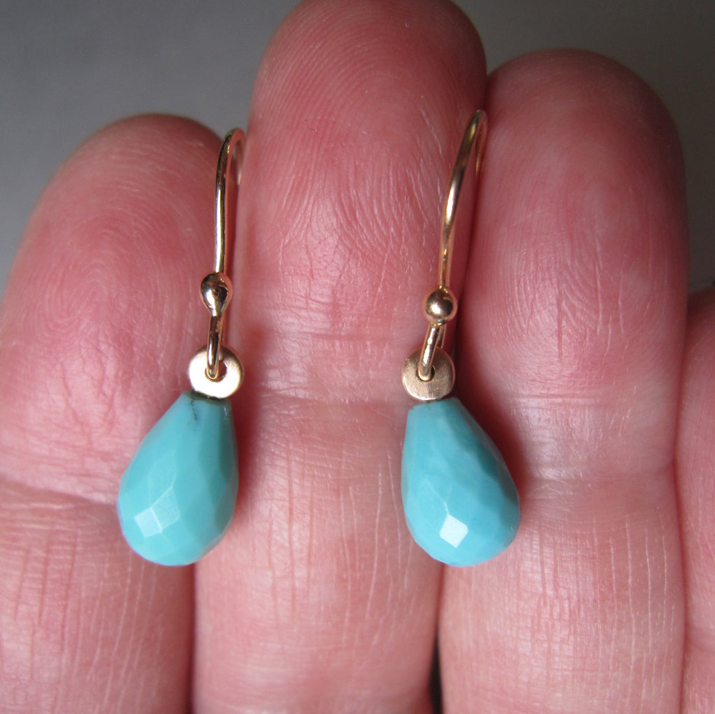 arizona blue turquoise faceted drops solid 14k yellow gold earrings4