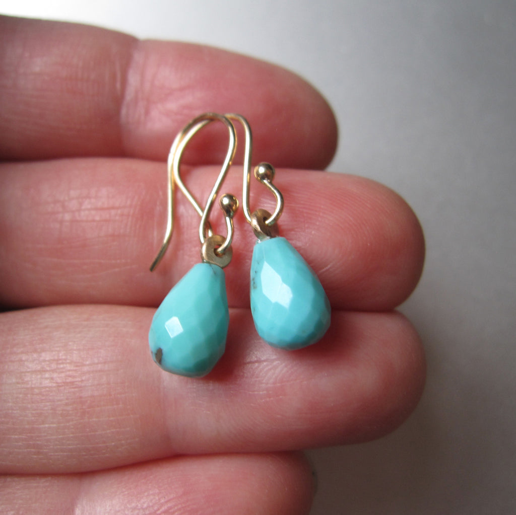 arizona blue turquoise faceted drops solid 14k yellow gold earrings