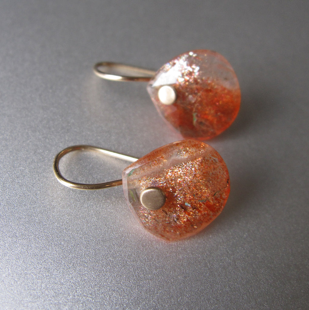 small rose cut orange sunstone drops solid 14k gold earrings5