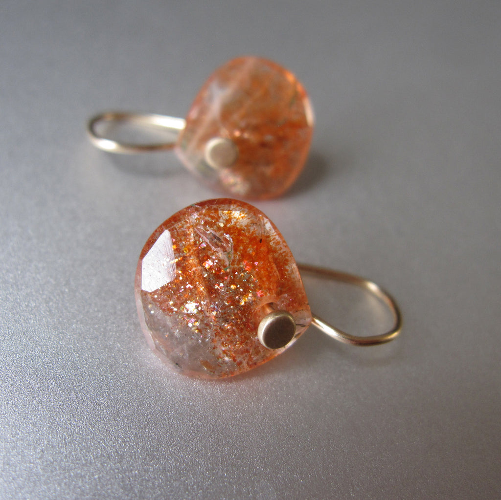 small rose cut orange sunstone drops solid 14k gold earrings3