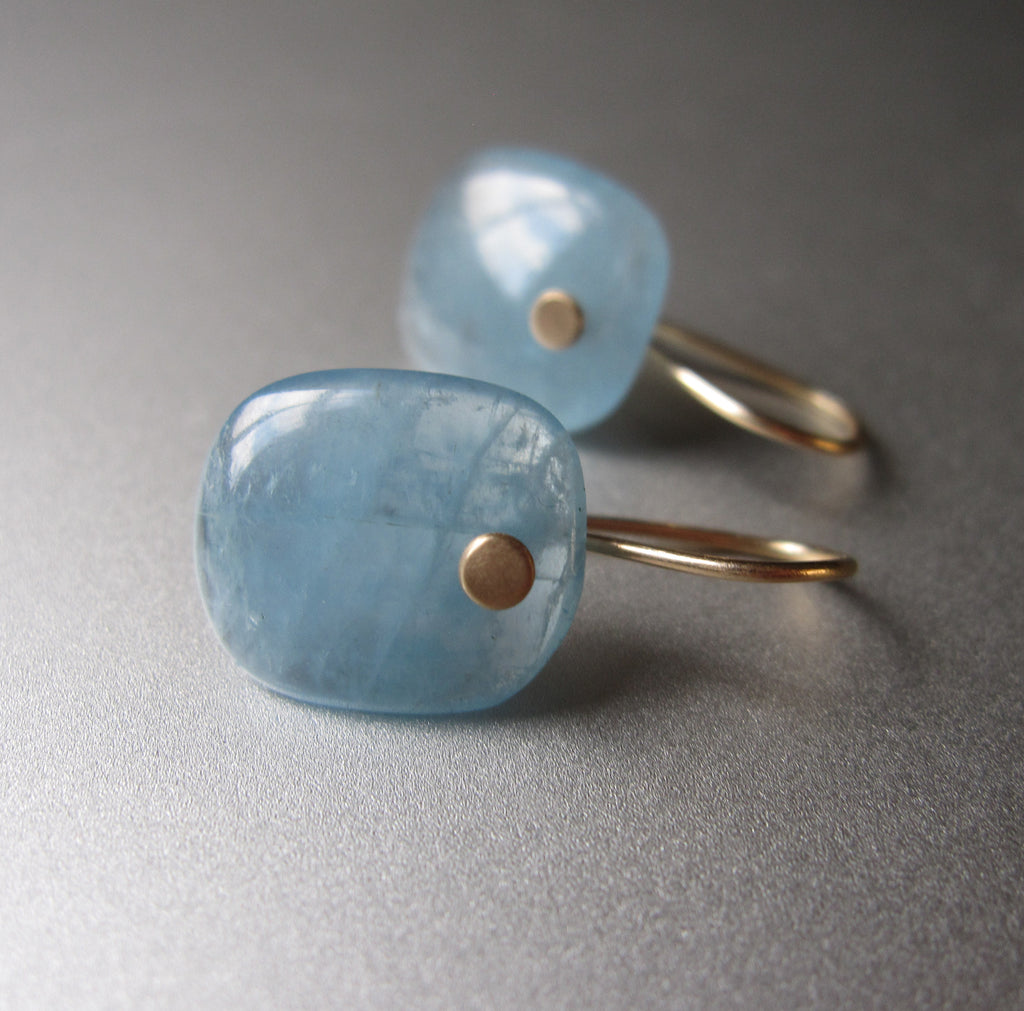Aquamarine Blue Cushion Slice Drops Solid 14k Gold Earrings