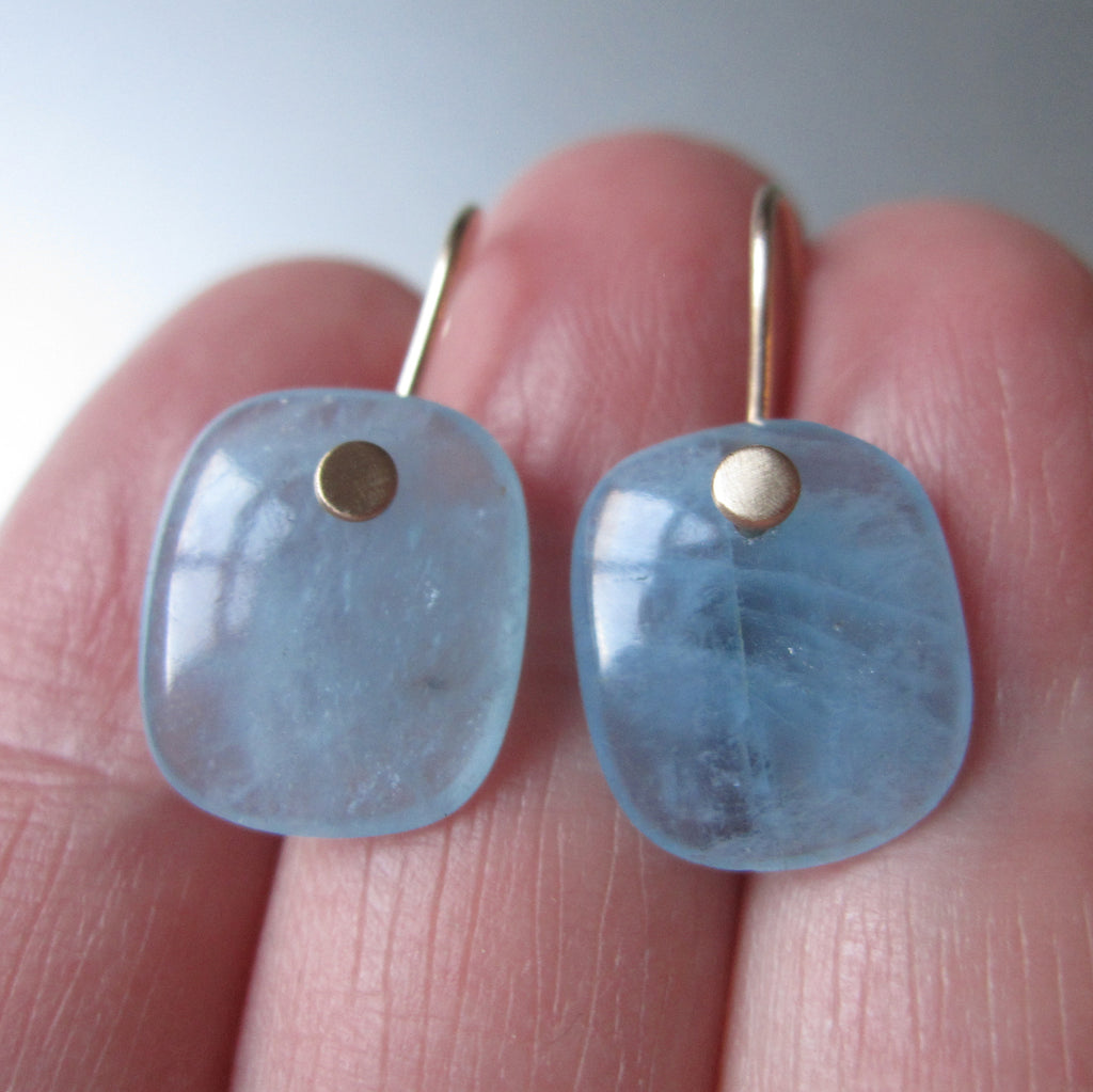 Aquamarine Blue Cushion Slice Drops Solid 14k Gold Earrings 3