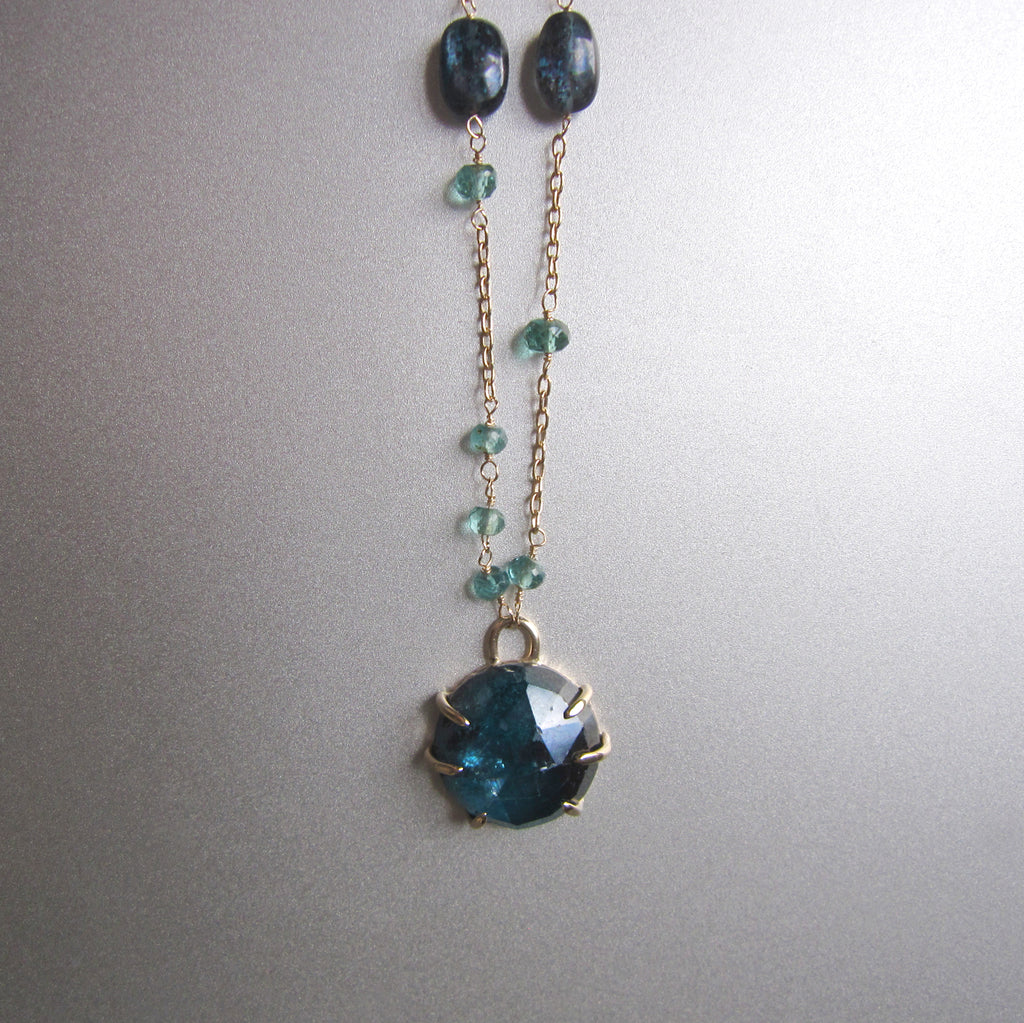 Rose Cut Kyanite Prong Set Cabochon and Indicolite Tourmaline Solid 14k Gold Necklace2