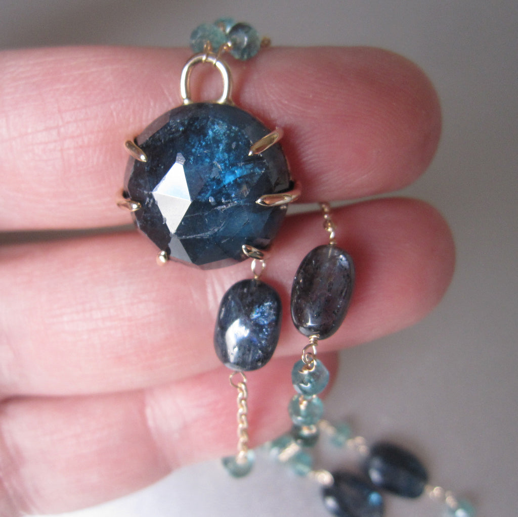 Rose Cut Kyanite Prong Set Cabochon and Indicolite Tourmaline Solid 14k Gold Necklace