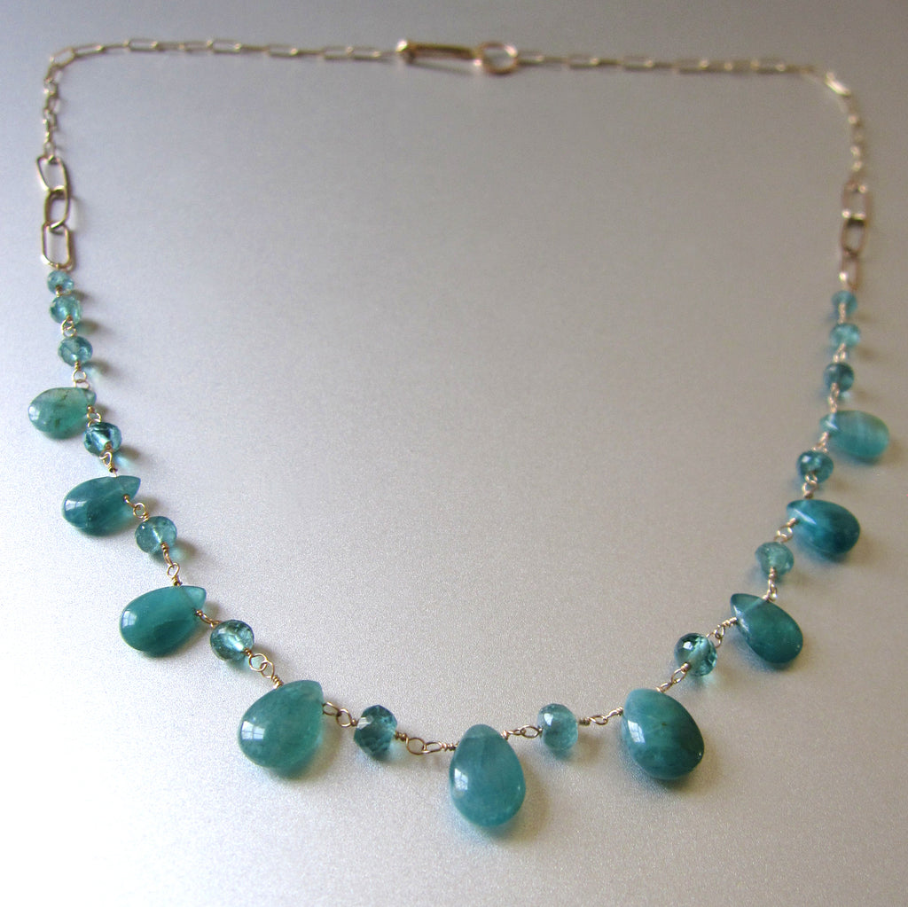 blue green grandidierite and tourmaline solid gold necklace3