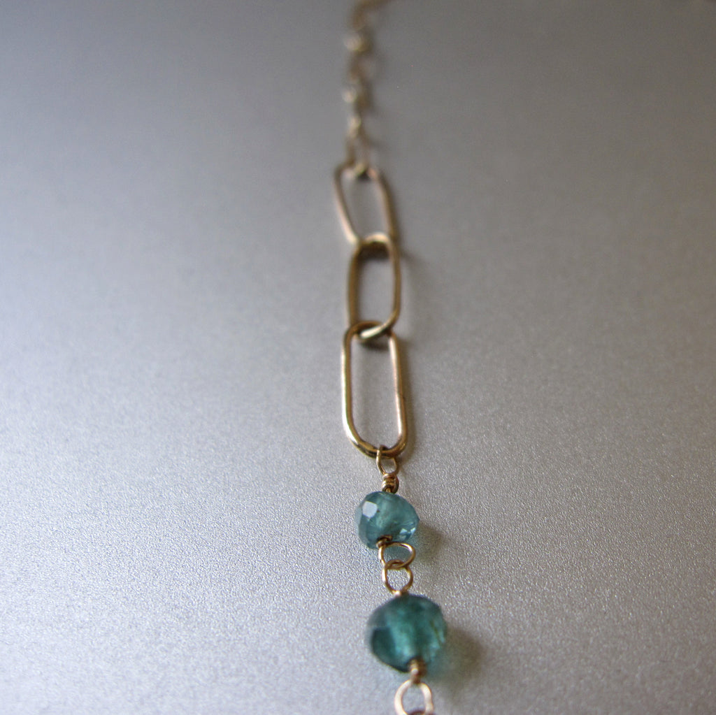 blue green grandidierite and tourmaline solid gold necklace4