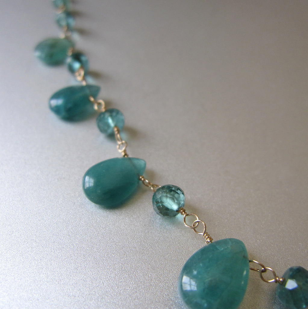 blue green grandidierite and tourmaline solid gold necklace5