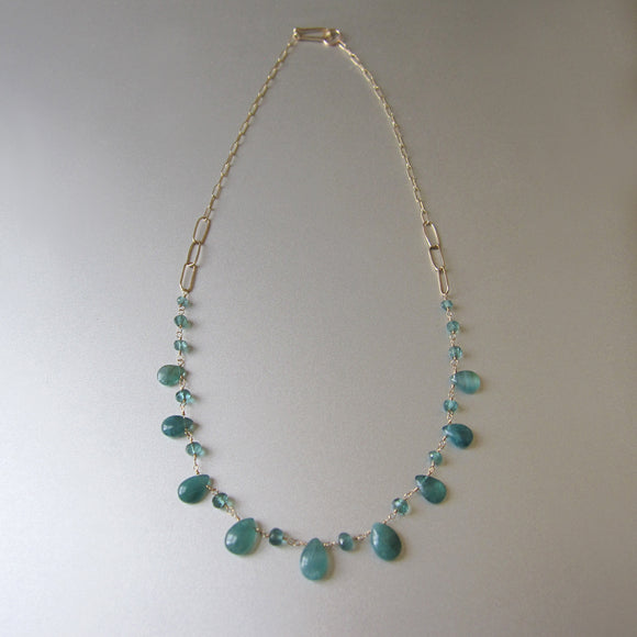 blue green grandidierite and tourmaline solid gold necklace