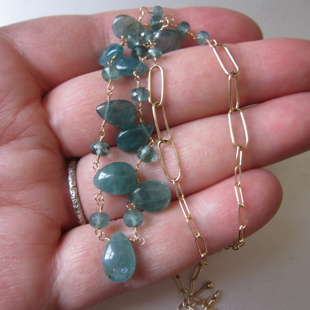blue green grandidierite and tourmaline solid gold necklace8
