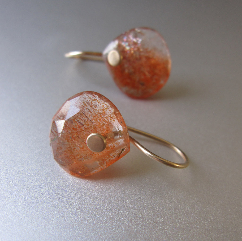 small rose cut orange sunstone drops solid 14k gold earrings