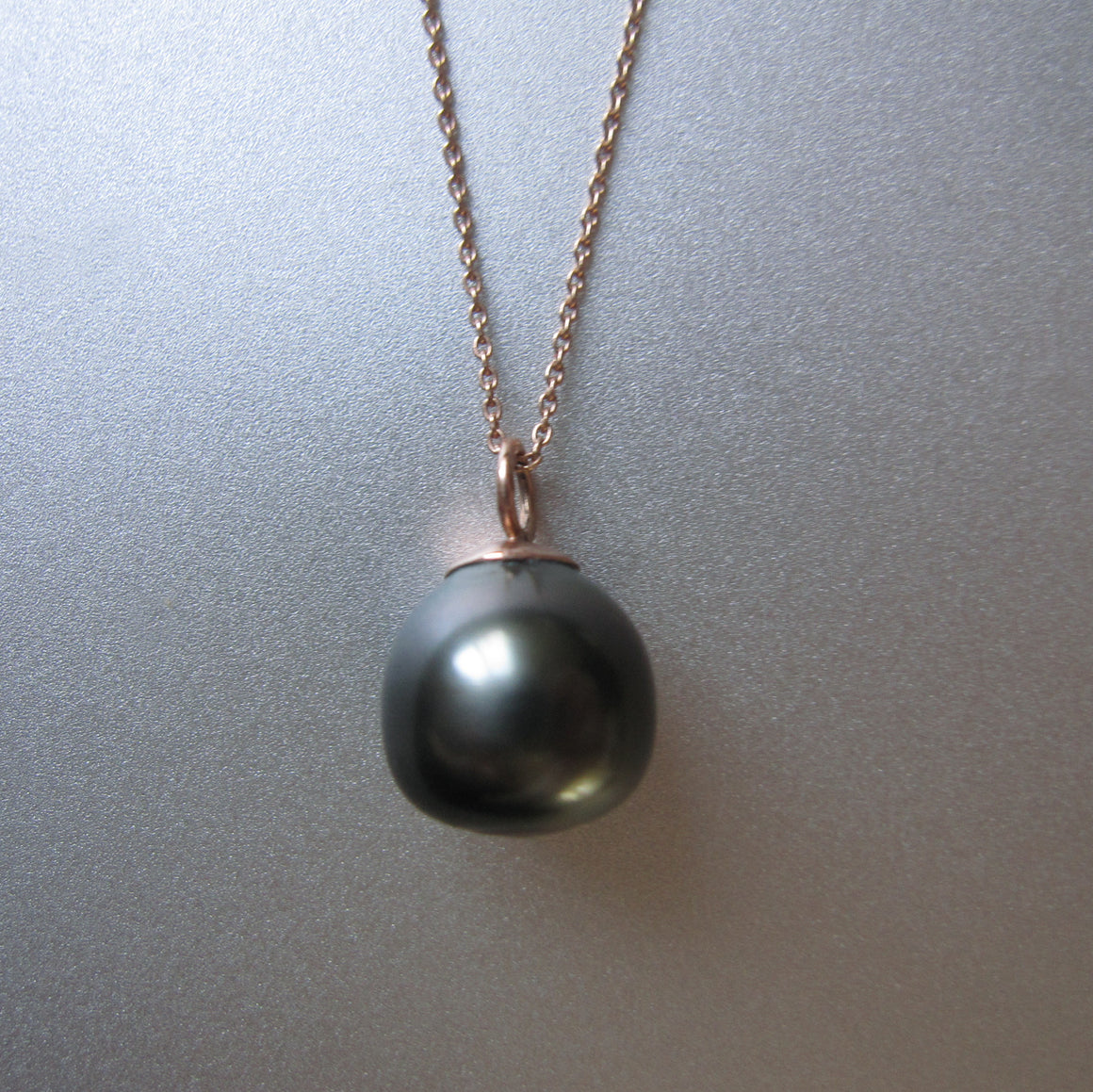 black south seas pearl drop solid 14k rose gold necklace