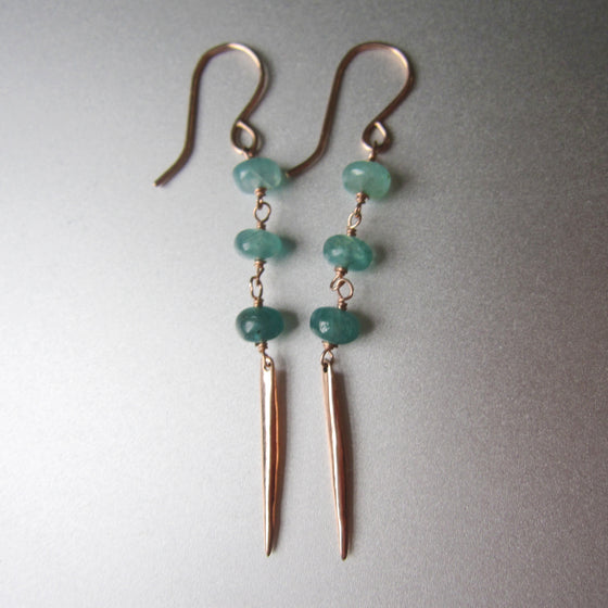 three stone green grandidierite and solid 14k rose gold spike earrings