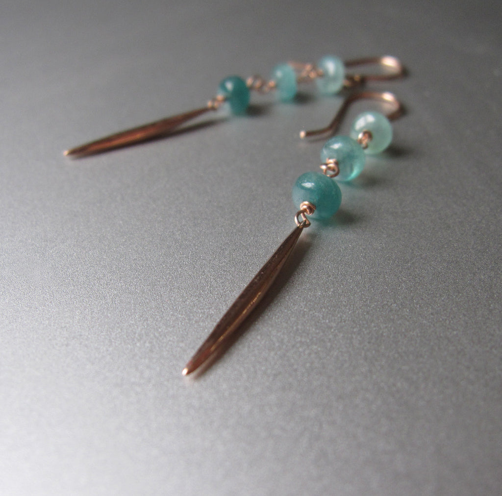 three stone green grandidierite and solid 14k rose gold spike earrings5